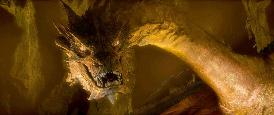 Smaug, performed by BENEDICT CUMBERBATCH in the fantasy adventure the movie a?THE HOBBIT: THE_DESOLATION OF SMAUG,a? a production of New Line Cinema and Metro-Goldwyn-Mayer_Pictures (MGM), released by Warner Bros. Pictures and MGM._Photo courtesy of Warner Bros. Pictures